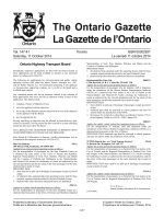 Ontario Gazette Volume 147 Issue 41, La Gazette de lOntario