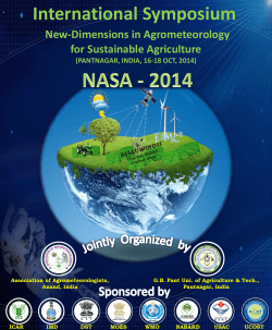New-Dimensions in Agrometeorology for sustainable Agriculture