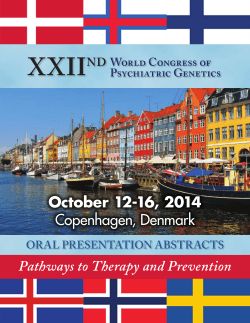 Oral Abstracts - WCPG 2014 - ISPG