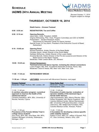 Complete Meeting Schedule - International Association for Dance