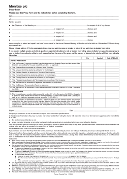 Monitise AGM Proxy Form 2014