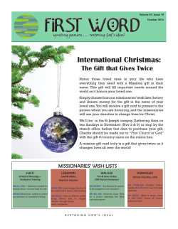 Monthly Newsletter - First Church of God
