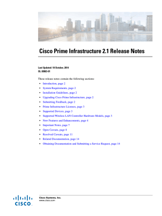 Cisco Prime Infrastructure 2.1 Release Notes