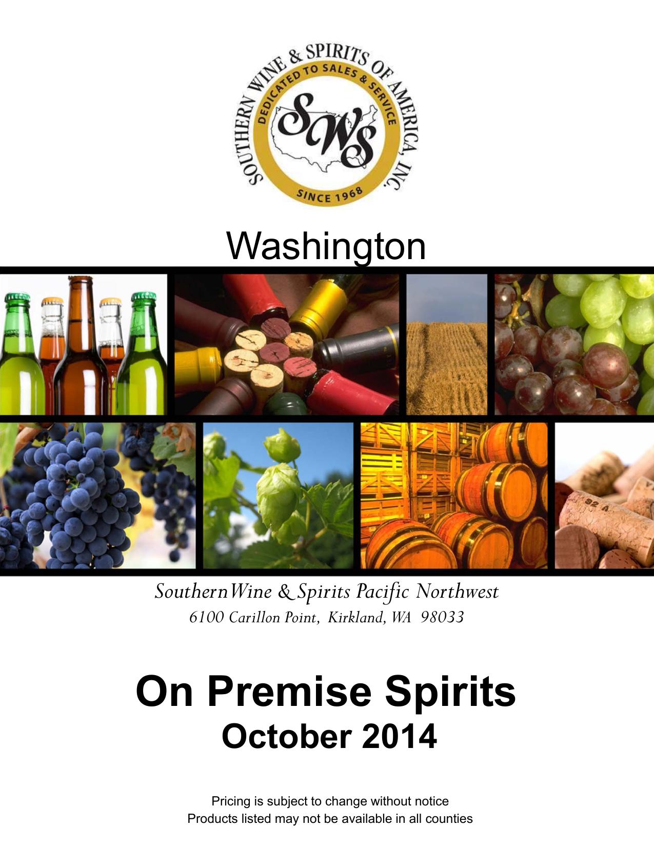 Sws Washington Spirits On Premise October 2014 Price Guide
