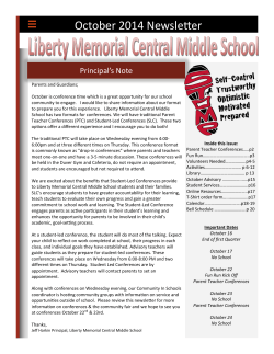 October 2014 Newsletter - Liberty Memorial Central Middle School