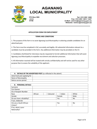 application form for municipal poistions final - Aganang Local