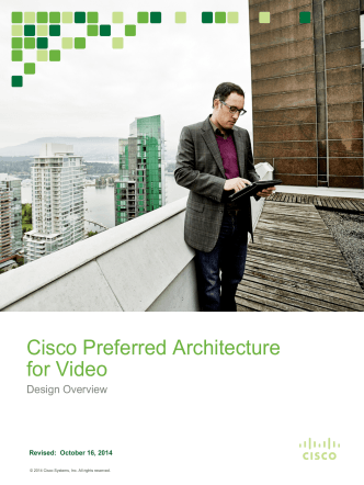 Cisco Preferred Architecture for Video - October 2014
