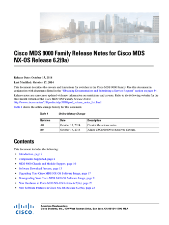 Cisco MDS 9000 Family Release Notes for Cisco MDS NX-OS