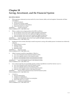 Chapter 18 Saving, Investment, and the Financial System