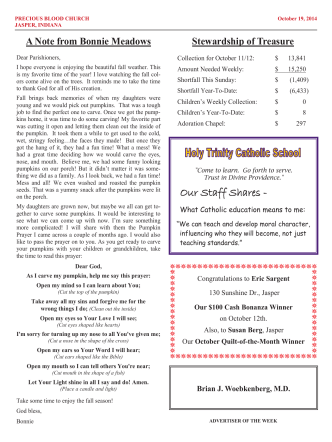 Current Bulletin - Precious Blood Parish in Jasper, IN