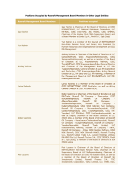 Positions Occupied by Rosneft Management Board Members in
