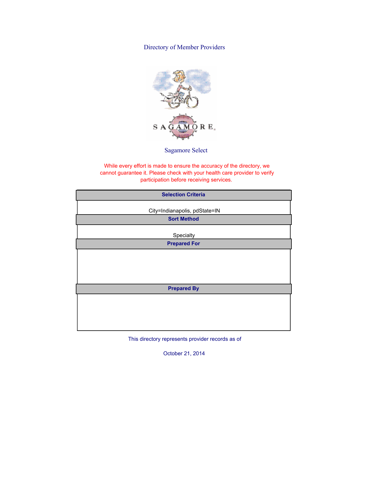 Sagamore Select Directory of Member Providers - Sagamore Health