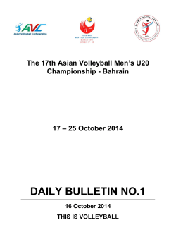 DAILY BULLETIN NO.1 - Asian Volleyball Confederation