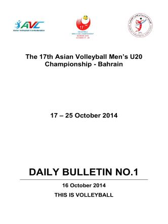 DAILY BULLETIN NO.1 - Asian Volleyball Confederation