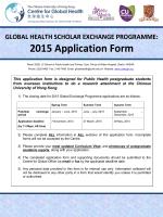 Global Health Scholar Exchange App - The Jockey Club School of