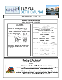 October 2014 - Temple Beth Emunah