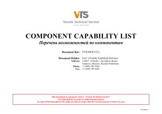 Component Capability List - Vostok Technical Service