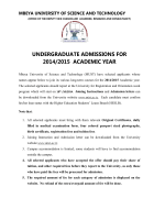 undergraduate admissions for 2014/2015 academic year - Mbeya
