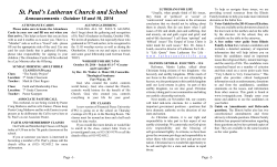 Announcements - St Pauls Lutheran School
