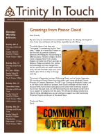 Greetings from Pastor David - Trinity United Methodist Church