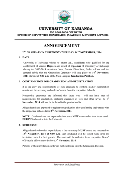 announcement for 2014 graduation: click here to - Kabianga