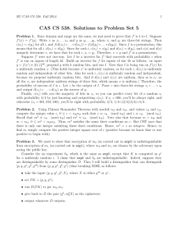 CAS CS 538. Solutions to Problem Set 5