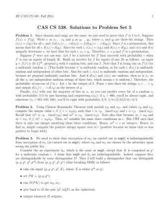 CAS CS 538. Solutions to Problem Set 5