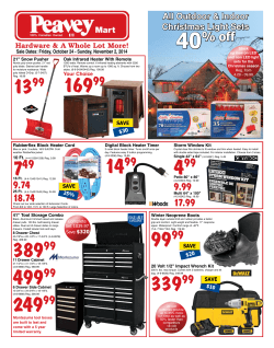Friday, October 24 - Sunday, November 2, 2014 - Peavey Mart