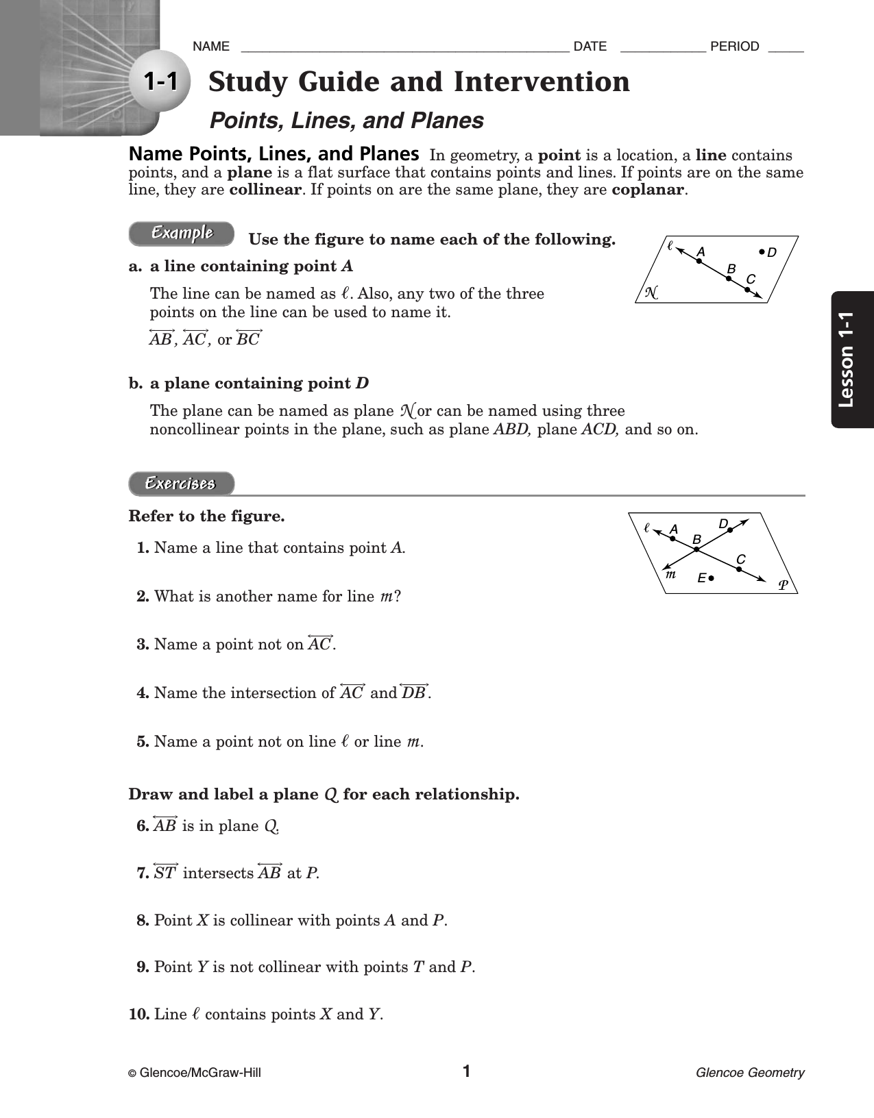 Glencoe Algebra 1 Study Guide And Intervention Answers Ukrobstep – Glencoe Geometry Worksheet Answers