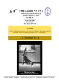 October Newsletter - Community Church of Walker UCC