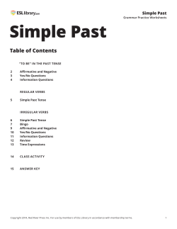 Past Tense - ESL Library