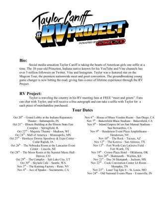 Bio: RV Project: Tour Dates - Hawkeye Downs Speedway