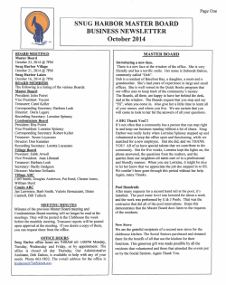 october 2014 newsletter - Snug Harbor Master Association