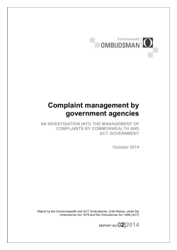 Complaint management by government agencies - Commonwealth