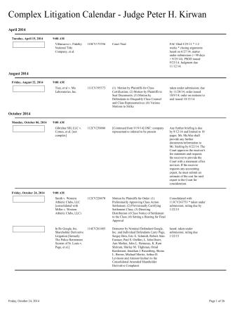 Complex Litigation Calendar - Department 17C - SC Superior Court