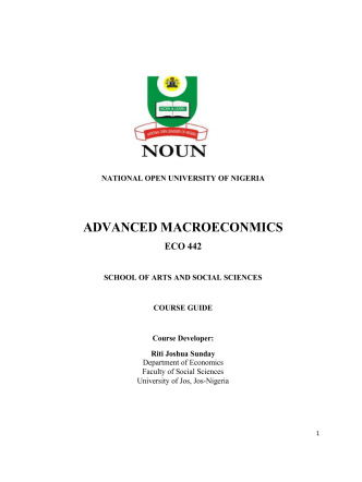 ADVANCED MACROECONMICS - National Open University of Nigeria