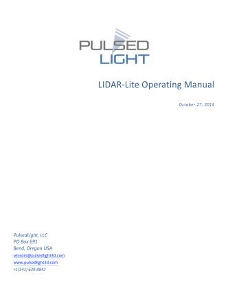 ! ! LIDAR!Lite%Operating%Manual - Pulsed Light 3D