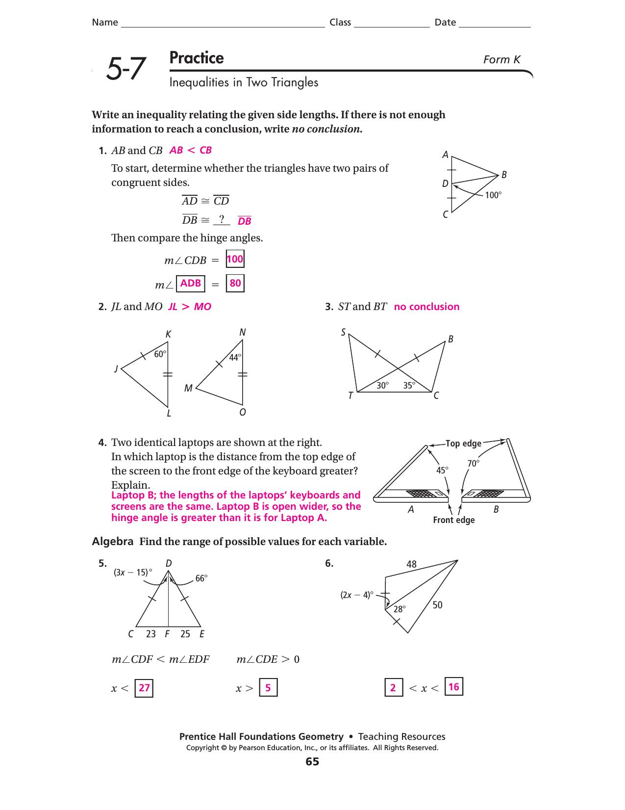 Lesson 57 – Midsegments of Triangles Worksheet