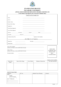 Convocation Application Form - palamuru university