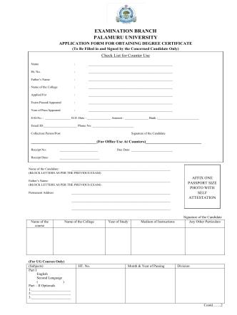 Convocation Application Form - palamuru university