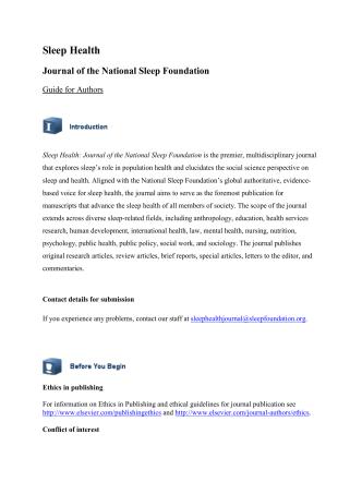 Author Information - Sleep Health: Journal of the National Sleep