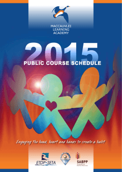 2015 Public Course Schedule - Maccauvlei Learning Academy