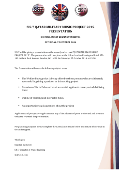 Qatar Military Music Project 2015 Presentation (pdf) - SIS-7