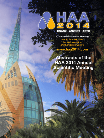 Abstracts of the HAA 2014 Annual Scientific Meeting