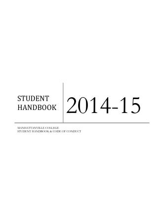 2014-2015 Student Handbook Code of Conduct - Manhattanville