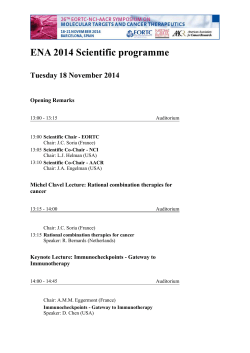 ENA 2014 Scientific programme - Ecco