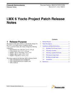 i.MX 6 Yocto Project Patch Release Notes - Freescale Semiconductor