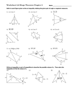 Worksheet 5.6 Hinge Theorem Chapter 5