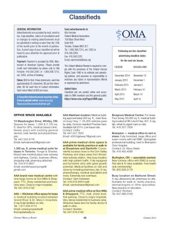 Classifieds - Ontario Medical Association