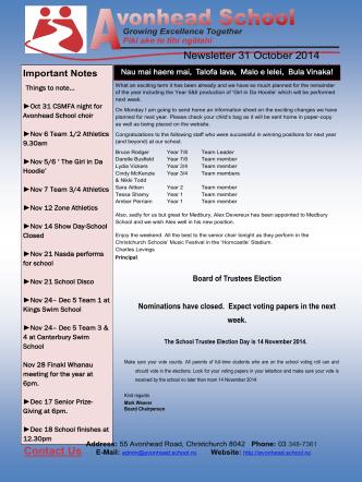 Contact Us Newsletter 31 October 2014 - Avonhead School